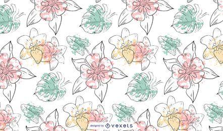Diseño de patrón de flores de acuarela