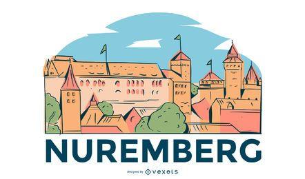 Diseño ilustrado del horizonte de Nuremberg