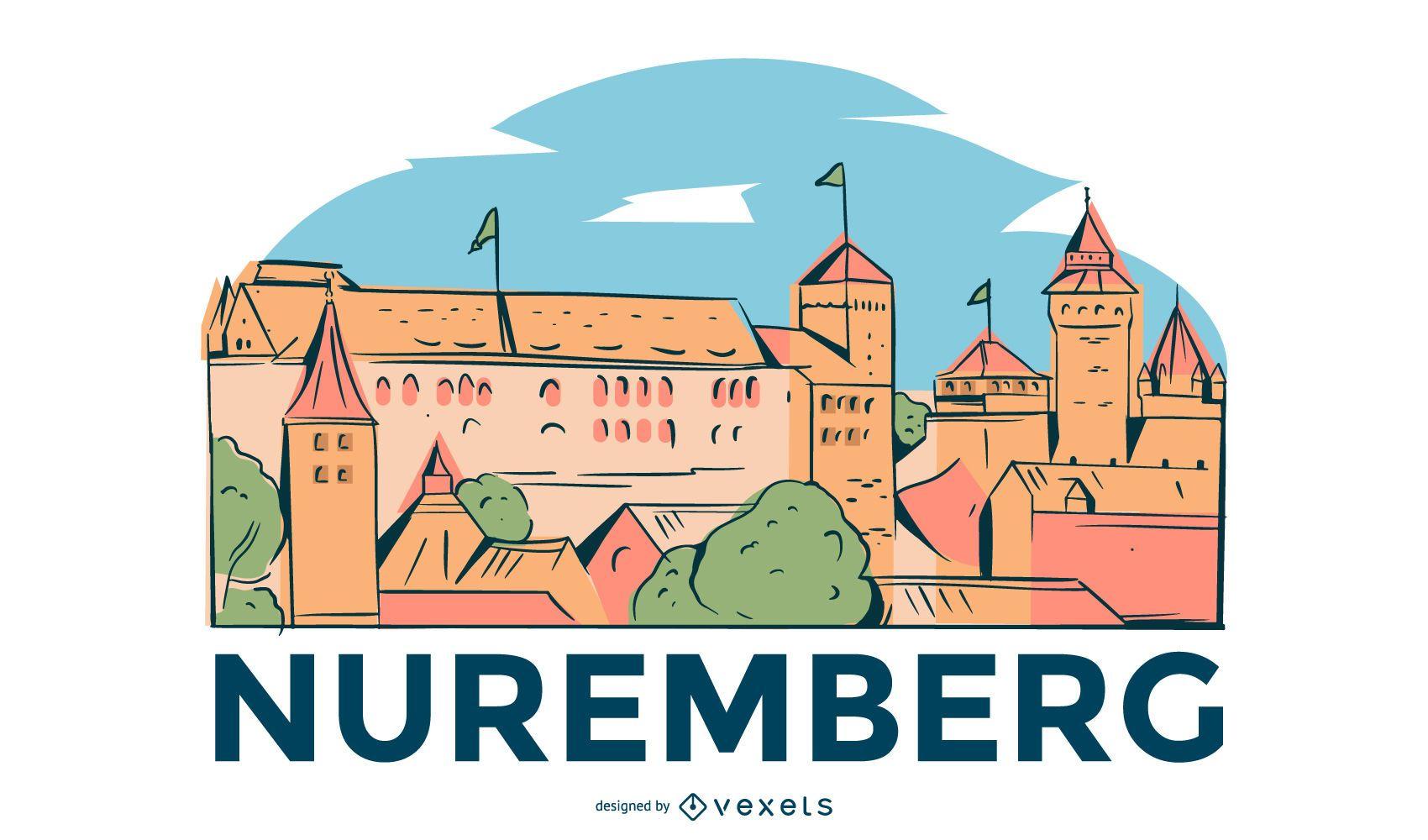 Nuremberg Illustrated Skyline Design