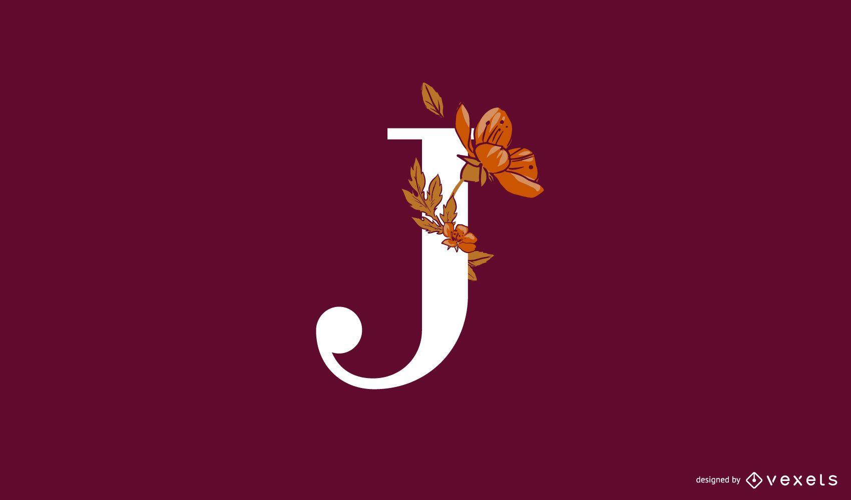 Plantilla de logotipo floral letra J