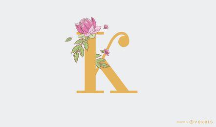 Modelo de logotipo floral com letra k