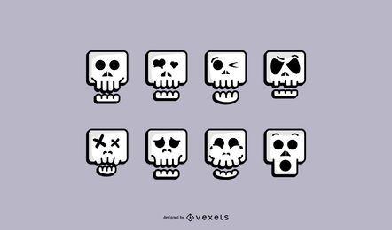 Conjunto de ícones de caveira fofa