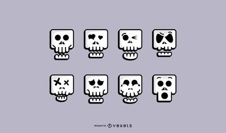 Cute Skull Icon Set