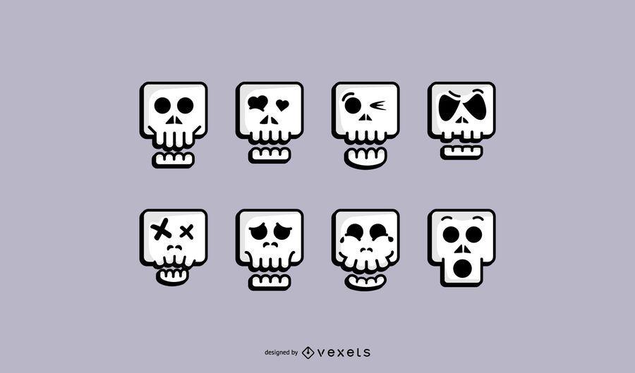 Cute Skull Icon Set
