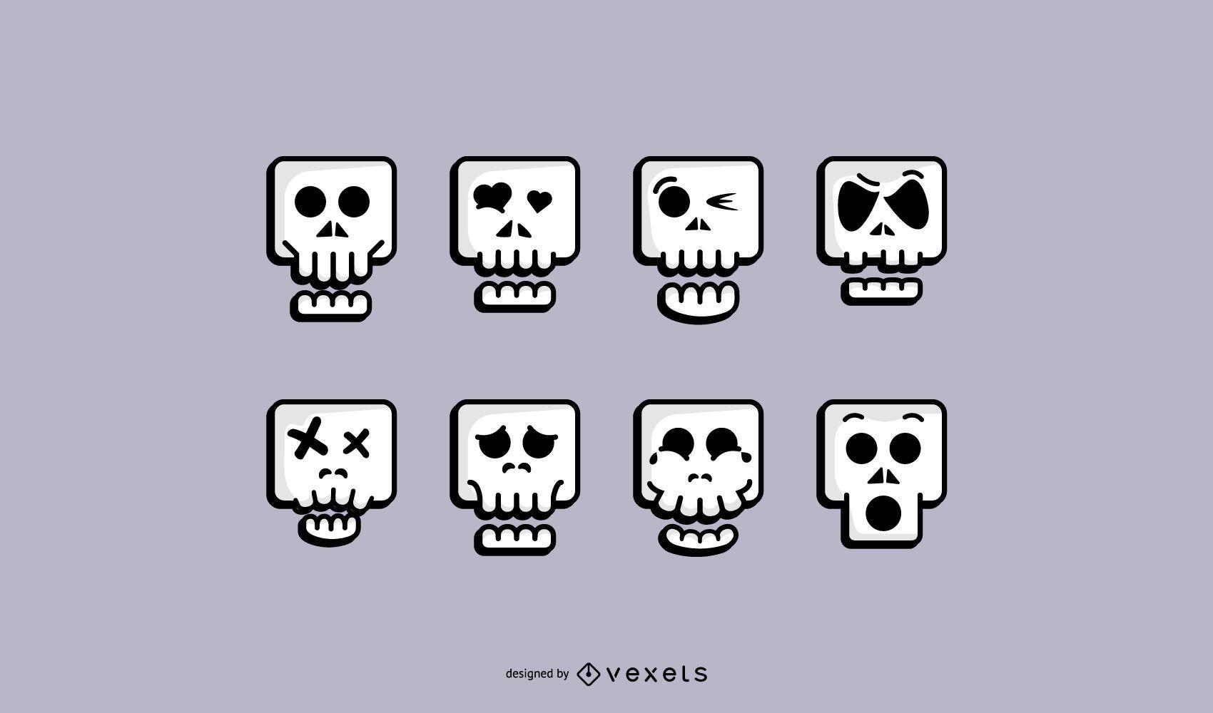 Lindo conjunto de iconos de calavera