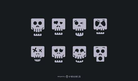 Conjunto de ícones de caveira dos desenhos animados