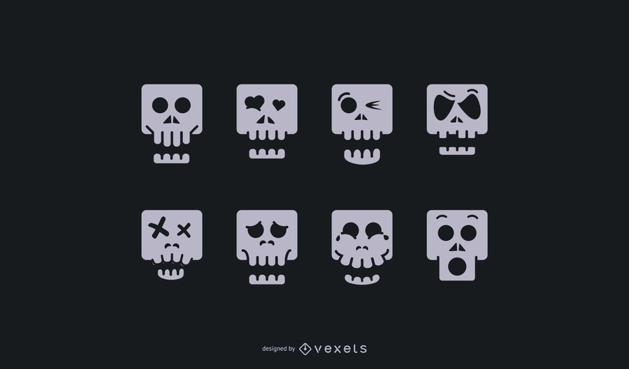 Skull Cartoon Icon Set