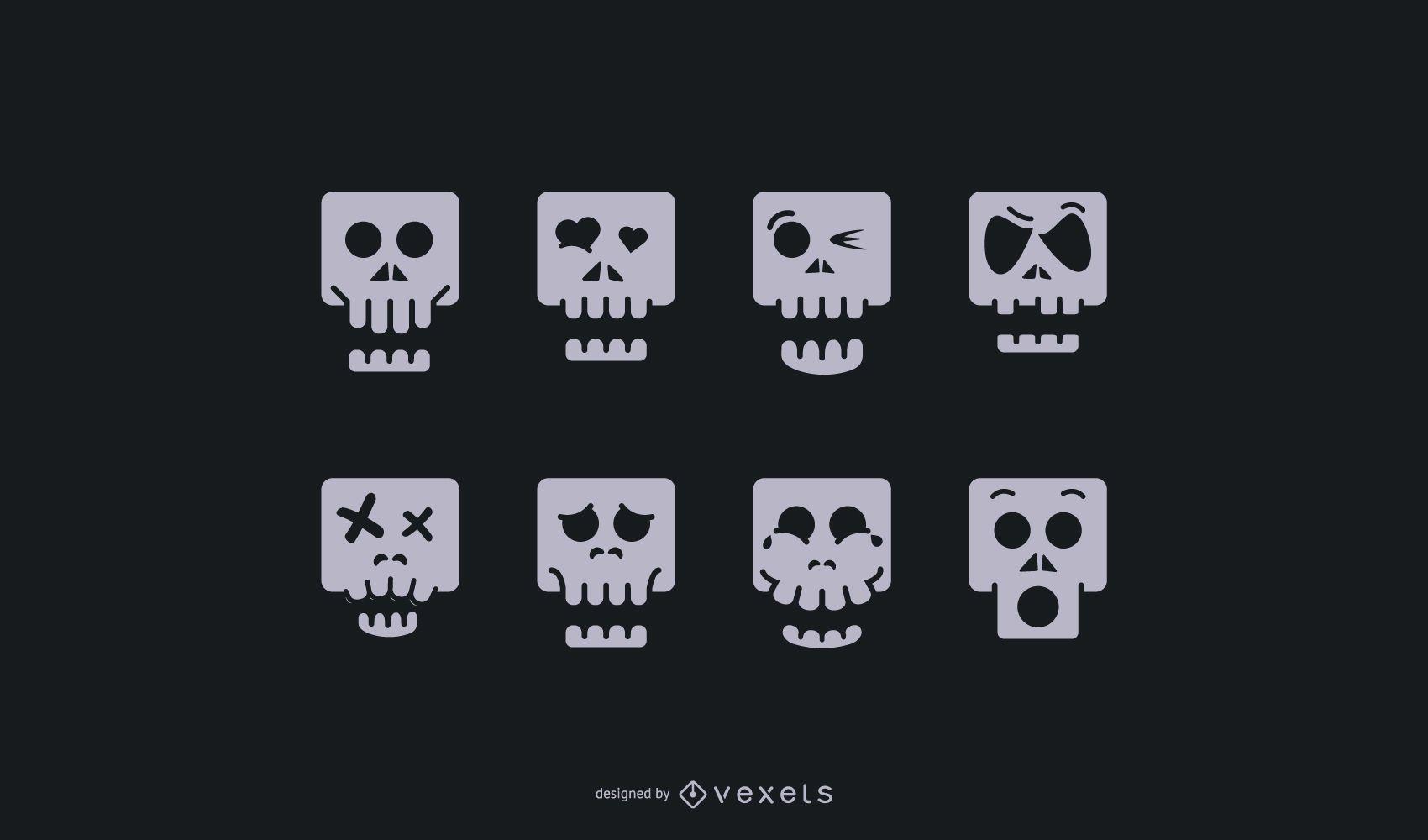Conjunto de iconos de dibujos animados de cráneo