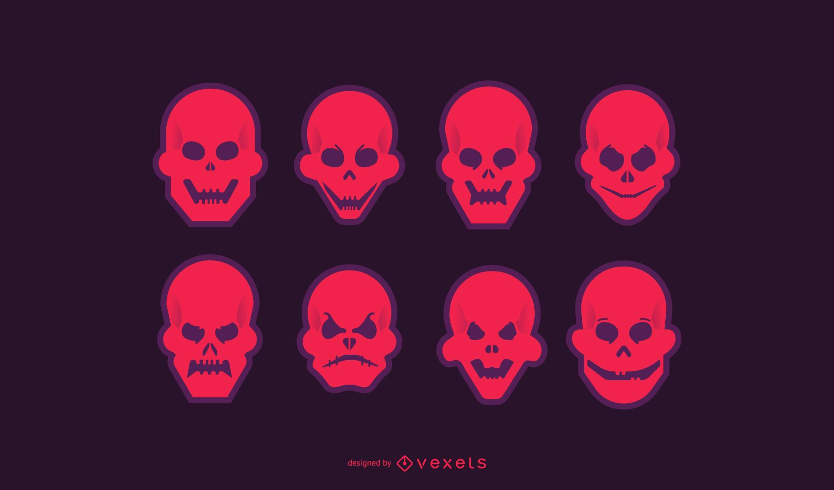 Conjunto de ícones de caveira vermelha brilhante