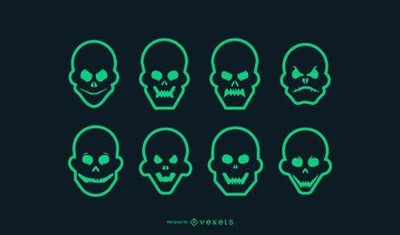 Conjunto de iconos de cráneo de trazo verde