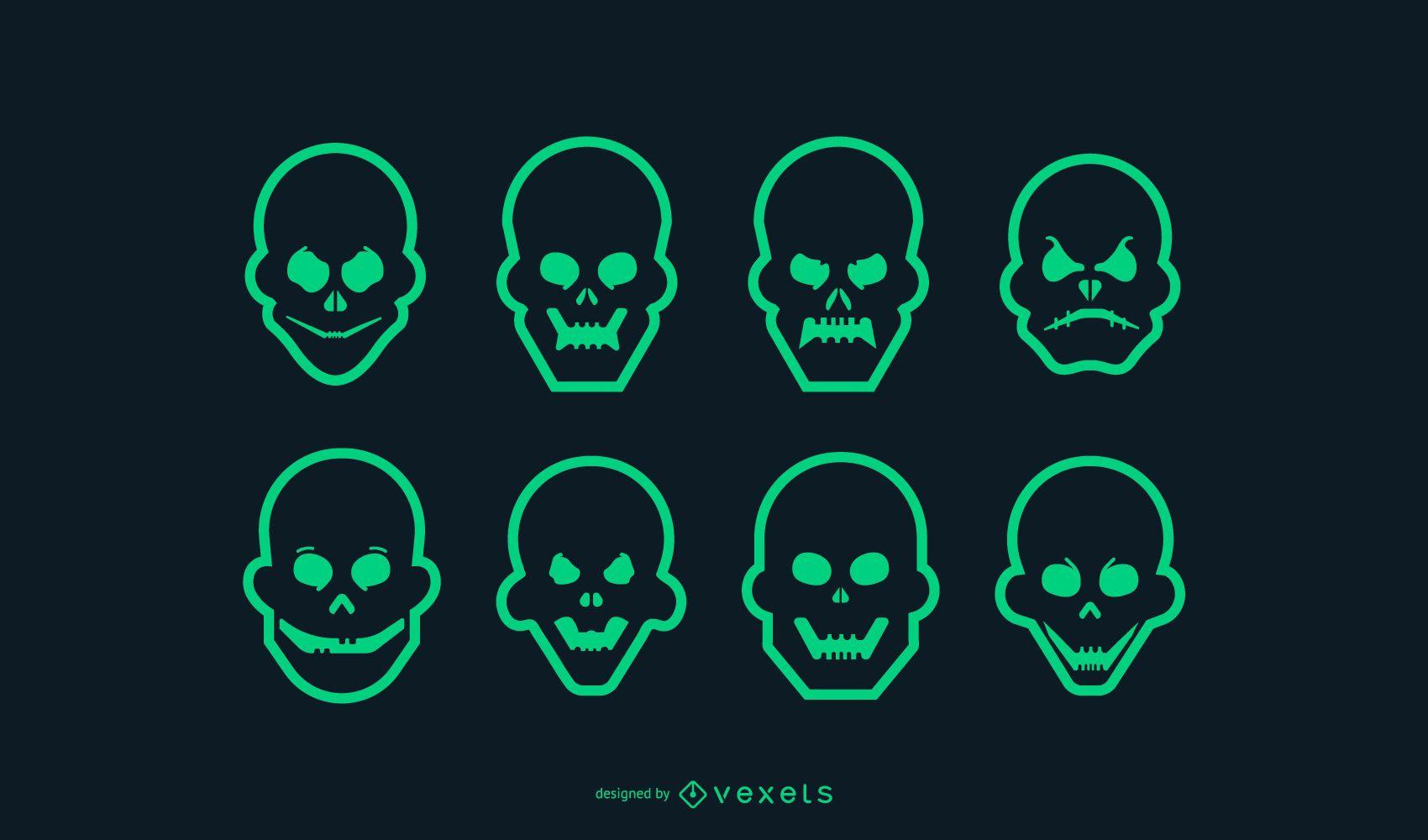 Conjunto de ícones de crânio com traço verde