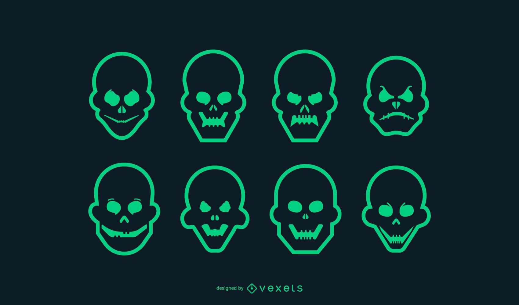 Green Stroke Skull Icon Set