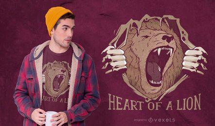 Coração de um design de t-shirt de leão