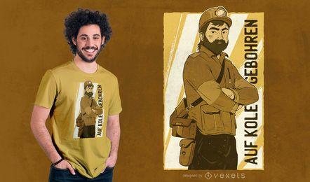 Diseño de camiseta de cita alemana de minero de carbón