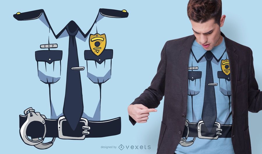Design de t-shirt de traje de polícia