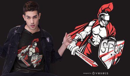 Diseño de camiseta de guerrero romano