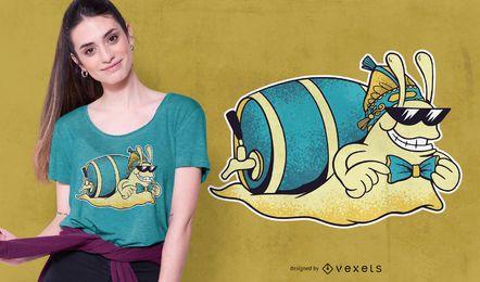 Design de t-shirt de caracol de cerveja
