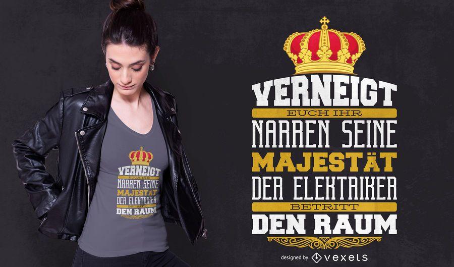 Design alemão do t-shirt das citações do eletricista