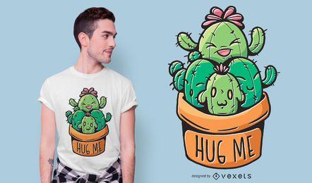 Diseño de camiseta Cacti hug