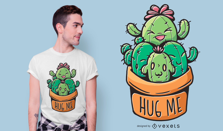 Diseño de camiseta cactus hug