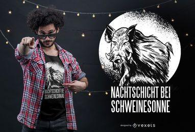 Design de camiseta com citação alemã de javali selvagem