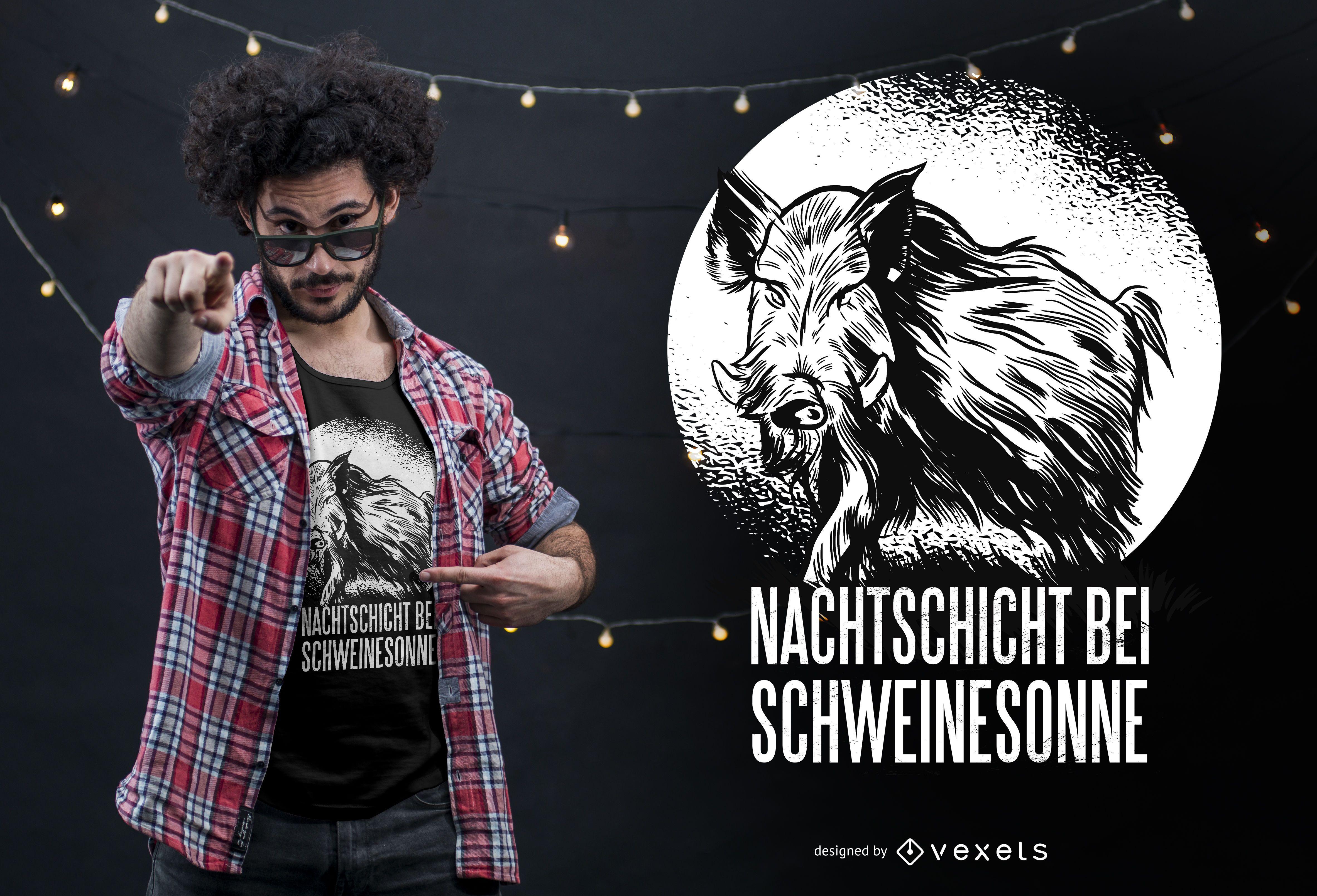 Diseño de camiseta de cita alemana de jabalí