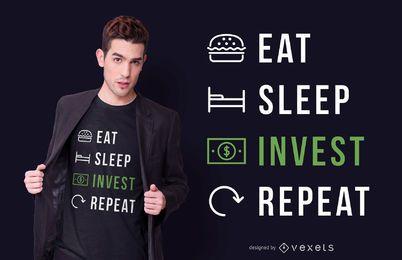 Eat sleep invest diseño de camiseta