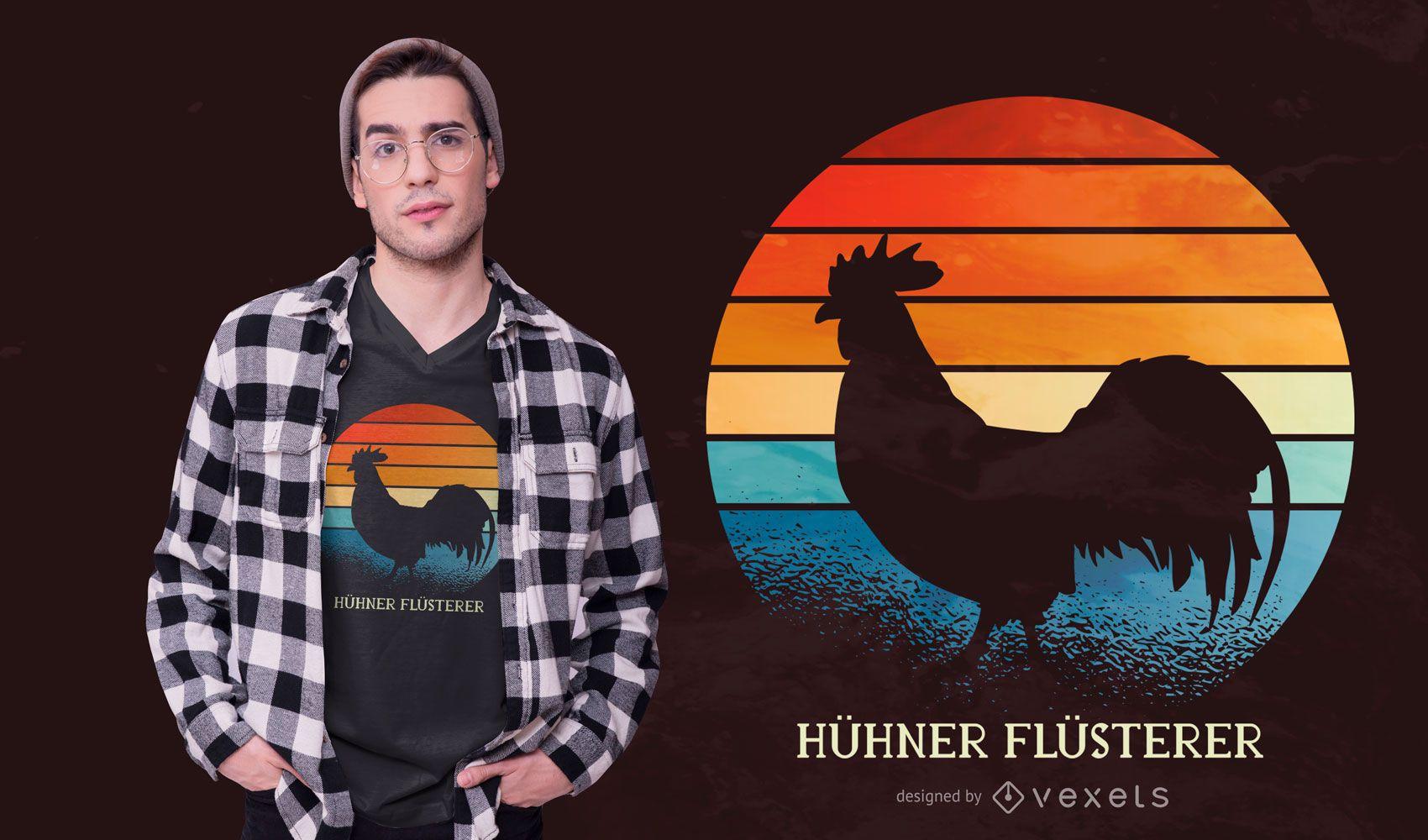 Diseño de camiseta de gallo al atardecer