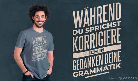 Diseño de camiseta de cita alemana de gramática