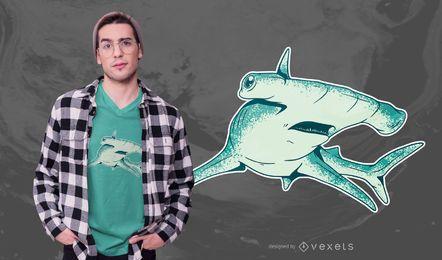 Design de camiseta de tubarão-martelo