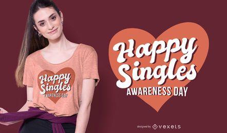 Diseño de camiseta feliz día de los solteros