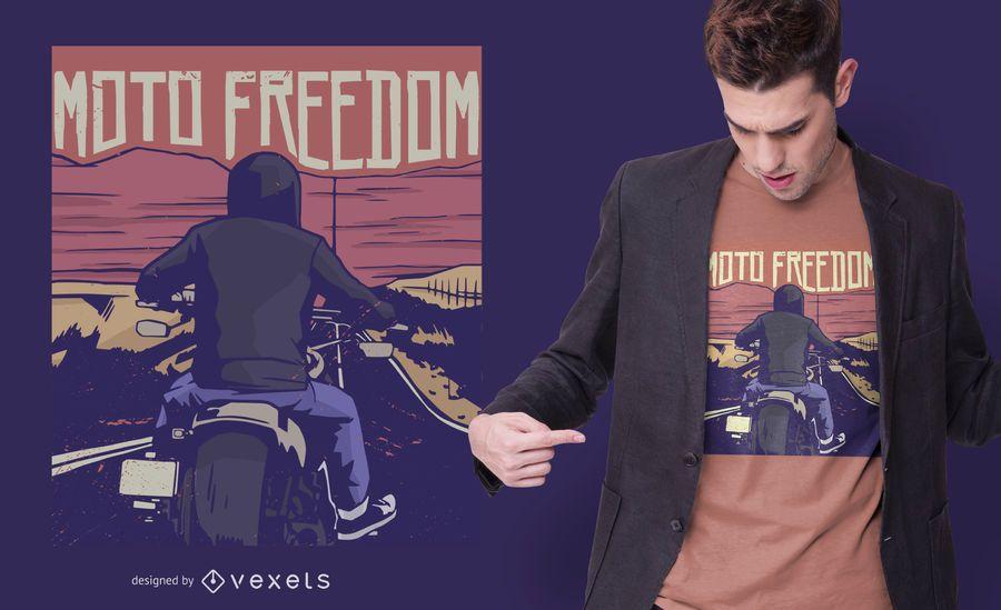 Design de t-shirt de liberdade de moto
