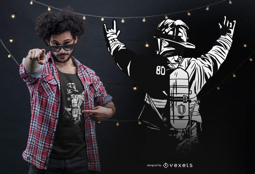 Design de t-shirt de mãos de sapador-bombeiro