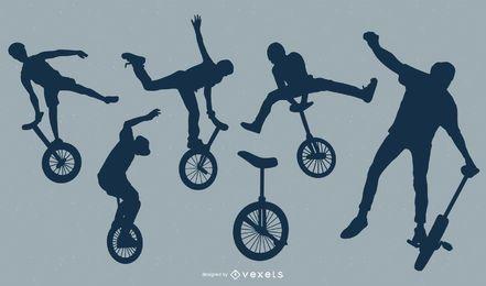 Conjunto de silhuetas de pessoas monociclo