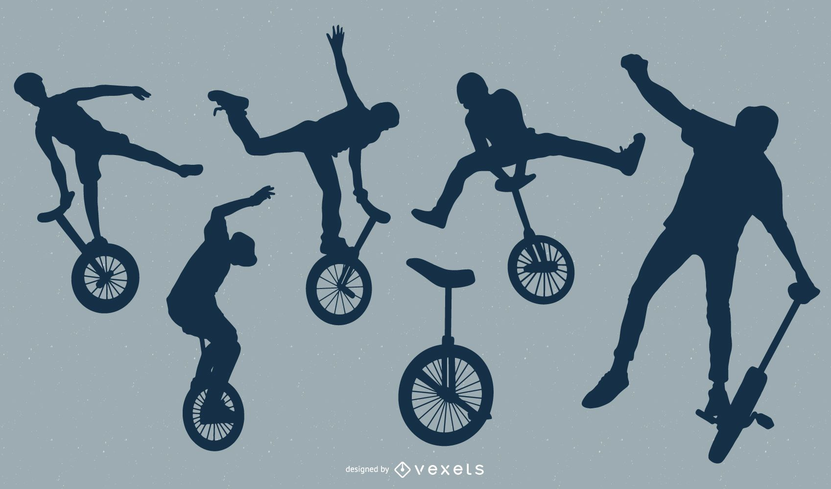Conjunto de silueta de personas monociclo