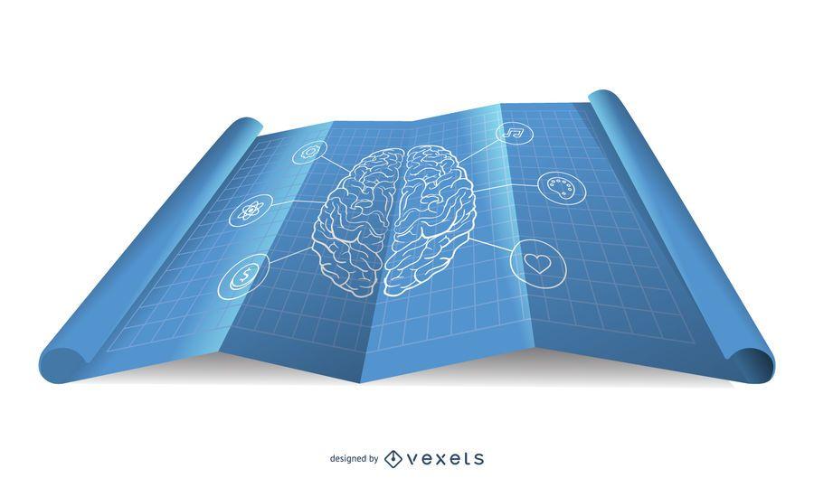 Diseño de mapa brillante de Blueprint de cerebro