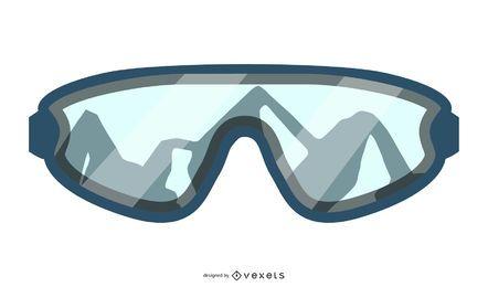 Design de óculos de esqui de montanha