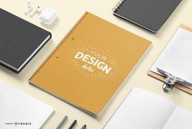 Composição de maquete de papelaria notebook