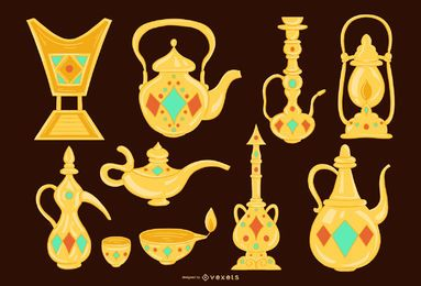 Paquete de diseño de objetos dorados árabes