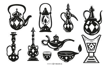 Pacote de design de objetos de traço preto árabe
