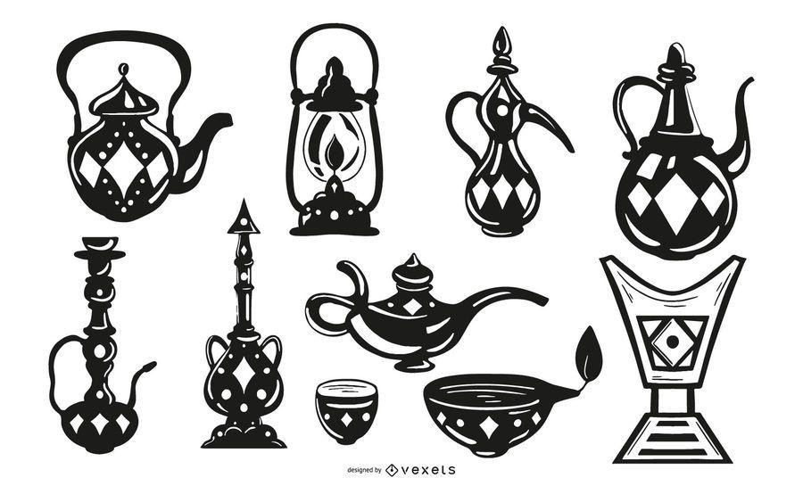 Arabic Black Stroke Objects Design Pack