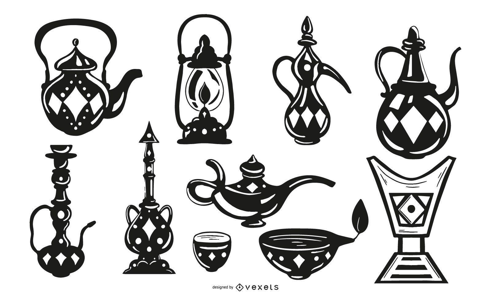Paquete de diseño de objetos de trazo negro árabe