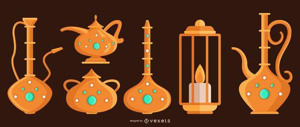 Conjunto de design de objeto árabe
