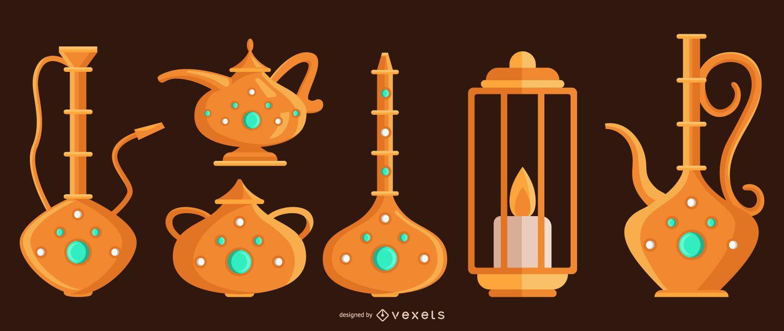 Conjunto de diseño de objetos árabes