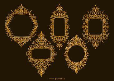 Pacote de design de moldura ornamental dourada