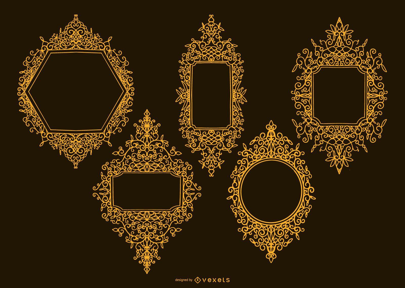 Paquete de diseño de marco ornamental dorado