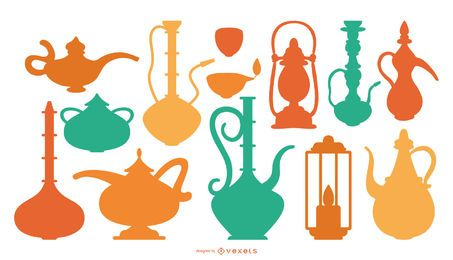 Coleção de silhuetas de cores de objetos árabes