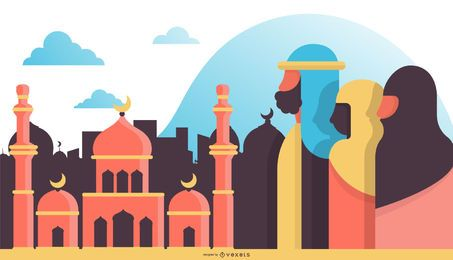 Arabic Flat Design Illustration