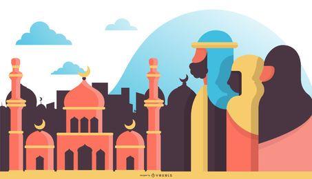 Ilustração Design plano árabe