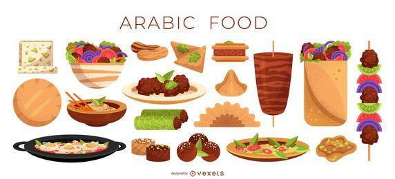 Coleção de ilustração de comida árabe